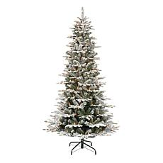 Puleo International 7.5' Pre-Lit Slim Flocked Aspen Fir Christmas Tree