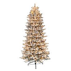 Puleo International 9'Prelit Slim Flocked Franklin Fir Artificial Tree