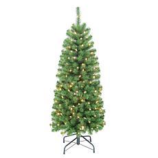 Puleo Intl. Pre-Lit 4.5' Pencil Northern Fir Artificial Christmas Tree