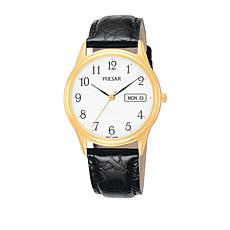Pulsar Men's Goldtone Stainless Steel and Black Leather Strap Watch