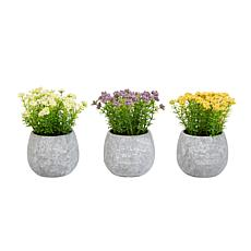Pure Garden 3-Piece Assorted Lifelike Faux Flower Arrangement