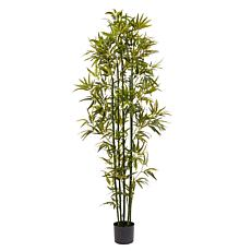Pure Garden 6' Tall Artificial Bamboo Plant with Green Trunk