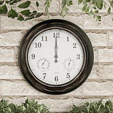 Pure Garden indoor/Outdoor Wall Clock with Thermometer 18""
