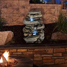 Pure Garden Outdoor Stone Waterfall Water Fountain With LED Lights