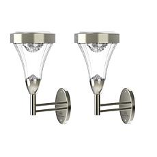 Pure Garden Set of 2 Wall or Post Mount Solar Lights