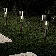 "Pure Garden Stainless Steel 12.2"" Solar Path Lights 12-pack"