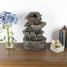 Pure Garden Tiered Tabletop Water Fountain w/ Rock Waterfall & Lights