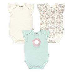 Rabbit+Bear Girls Ruffle Sleeve Graphic, Solid & Print Bodysuits 3Pack