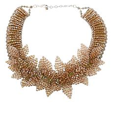 "Rara Avis by Iris Apfel 14-1/2"" Faceted Bead Flower Collar Necklace"