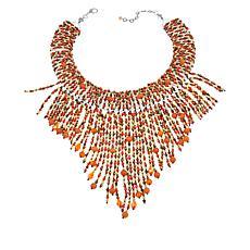 """Rara Avis by Iris Apfel 17""""  Orange Multi Fringe Necklace"""
