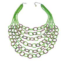 "Rara Avis by Iris Apfel 22"" Green and Purple Beaded Bib Necklace"