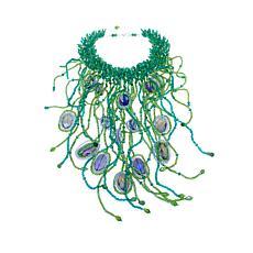 "Rara Avis by Iris Apfel Beaded Peacock 16"" Bib Necklace"