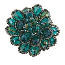 Rara Avis by Iris Apfel Beaded Stone Floral Brooch