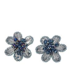 Rara Avis by Iris Apfel Beaded Stone Floral Clip-On Earrings
