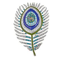 Rara Avis by Iris Apfel Crystal and Enamel Feather Brooch