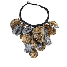 Rara Avis by Iris Apfel Freeform Leaf Painted Paper Bib Necklace