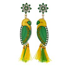 Rara Avis by Iris Apfel Green and Yellow Tassel Parrot Earrings