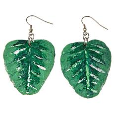 Rara Avis by Iris Apfel Palm Leaf Painted Paper Dangle Earrings