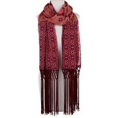 Rara Avis by Iris Apfel Printed Scarf with Fringe