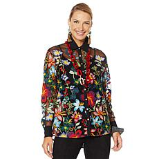 Rara Avis by Iris Apfel Sheer Embroidered Blouse with Cami