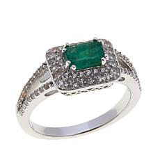 Rarities 1.05ctw Emerald & White Zircon East/West Ring