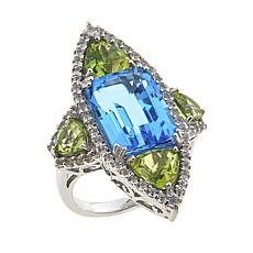 Rarities 12.02ct Blue Topaz, Peridot and White Topaz Ring