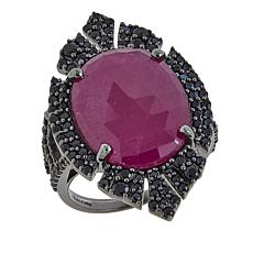 Rarities 13.04ctw Ruby and Black Spinel Marquise-Shaped Ring
