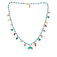 "Rarities 18"" Multi-Gemstone Squash Blossom Link Necklace"
