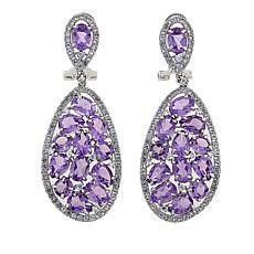 Rarities 18.95ctw Amethyst and White Zircon Drop Earrings