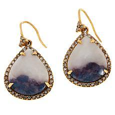 Rarities 18K Rose Gold 0.9ct Tourmaline in Feldspar & Diamond Earrings