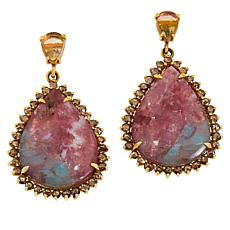Rarities 18K Rose Gold 2.6ct Tourmaline in Feldspar and Gem  Earrings