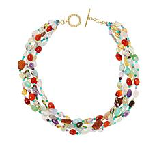 "Rarities 19"" Gold-Plated Multi-Gemstone Multi-Row Beaded Necklace"