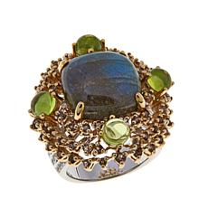 Rarities 2-Tone 1.36ctw Labradorite and Gem Ring