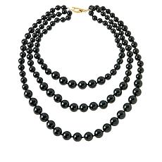 "Rarities 20-1/2"" Gold-Plated Black Shell Bead 3-Row Necklace"