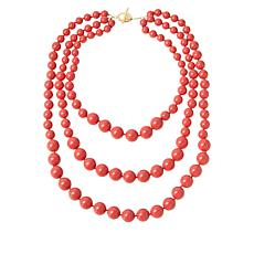 """Rarities 20-1/2"""" Gold-Plated Shell Bead 3-Row Necklace"""