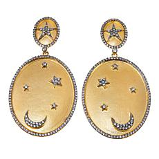 Rarities 2.3ctw White Zircon Moon and Stars Drop Earrings