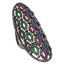 Rarities 2.91ctw Multigem Oval-Design Tattoo Ring