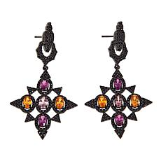 Rarities 7.32ctw Black Spinel & Multicolor Garnet Doorknocker Earrings