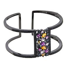 Rarities 7.54ct Black Spinel & Multicolor Garnet Negative-Space Bangle