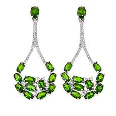 Rarities 7 57ctw Chrome Diopside White Zircon Open Teardrop Earrings