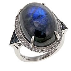 "Rarities ""Blue Sheen"" Labradorite, Sapphire and White Zircon Ring"