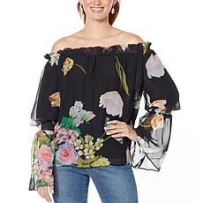 Rarities by Carol Brodie Floral-Print Off-Shoulder Top