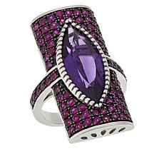 Rarities Elongated Amethyst and Pink Sapphire Ring
