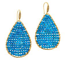 Rarities Faceted Gemstone Bead and Diamond-Accented Teardrop Earrings