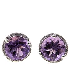Rarities Gemstone and Diamond Round Stud Earrings