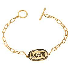 Rarities Gold-Plated 0.50ctw Champagne Diamond Love Link Bracelet