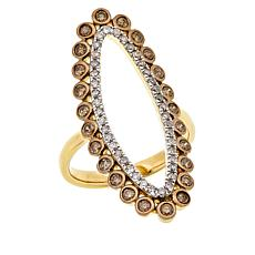 Rarities Gold-Plated 0.76ctw Diamond Negative Space Oval Ring