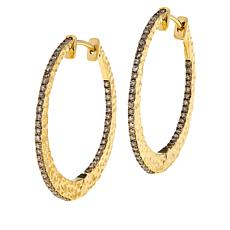Rarities Gold-Plated 0.92ctw Champagne Diamond Hoop Earrings