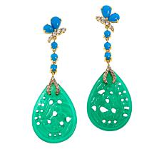 Rarities Gold-Plated Carved Green Agate Multi-Gemstone Drop Earrings