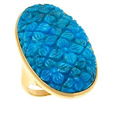 Rarities  Gold-Plated Compressed Turquoise Carved Ring